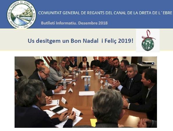 Comunitat General de Regants de la Dreta de l´Ebre : NOTÍCIES : Butlleti Desembre 2018