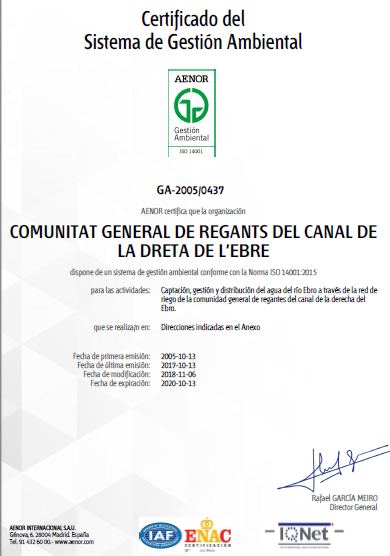Comunidad General de Regantes de la Derecha del Ebro : OBJETO COMUNIDAD : Certificación ISO