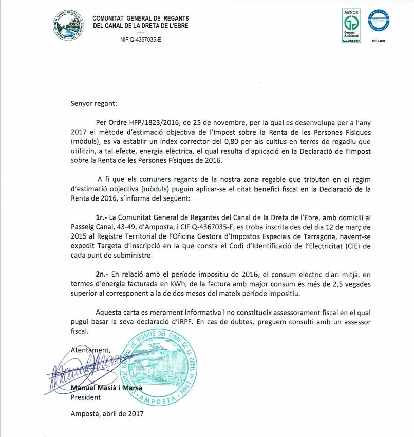 Comunitat General de Regants de la Dreta de l´Ebre : NOTÍCIES : Índex corrector Renda 2016