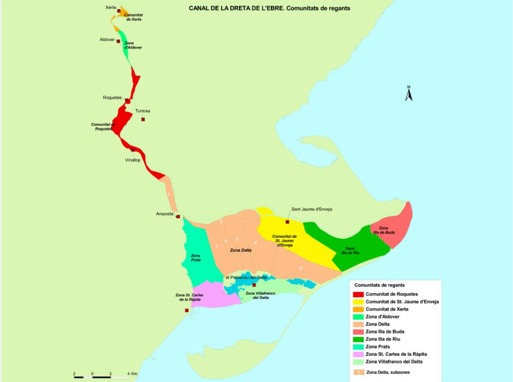 Comunitat General de Regants de la Dreta de l´Ebre : OBJECTE DE LA COMUNITAT : Plànol general Zones
