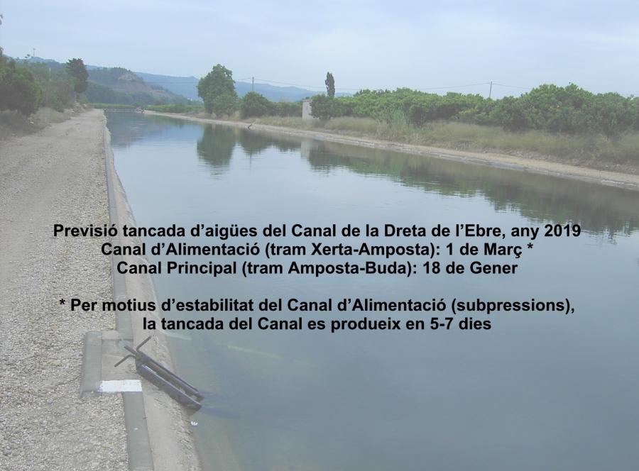 Comunitat General de Regants de la Dreta de l´Ebre : NOTÍCIES : Previsió tancament d'aigües Canal de la Dreta de l'Ebre 2019