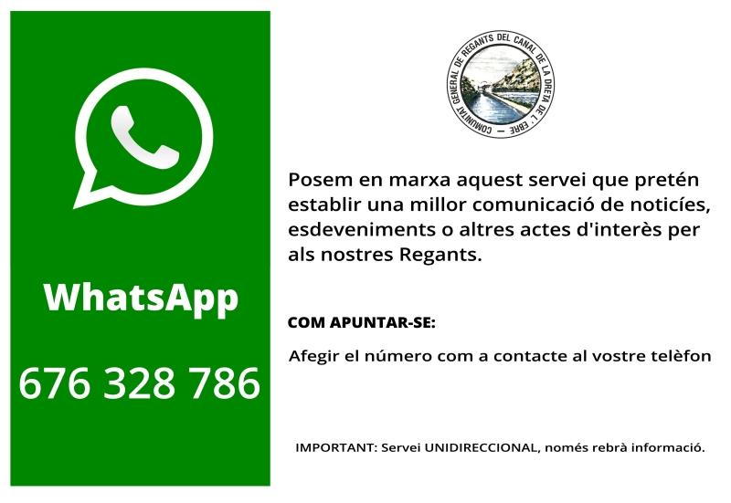 Comunitat General de Regants de la Dreta de l´Ebre :  : Whatsapp
